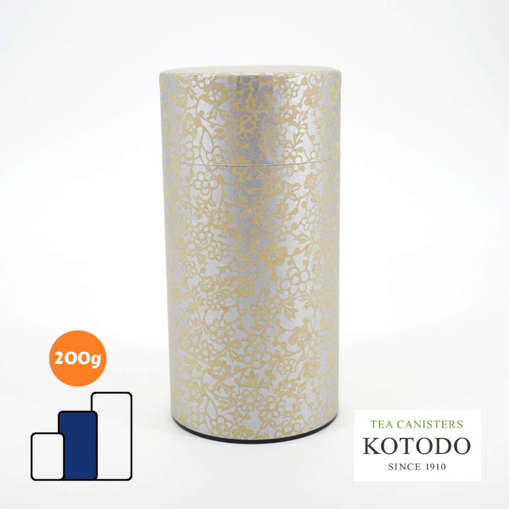 Japanese tea canister Washi design Collection grey paper golden flowers