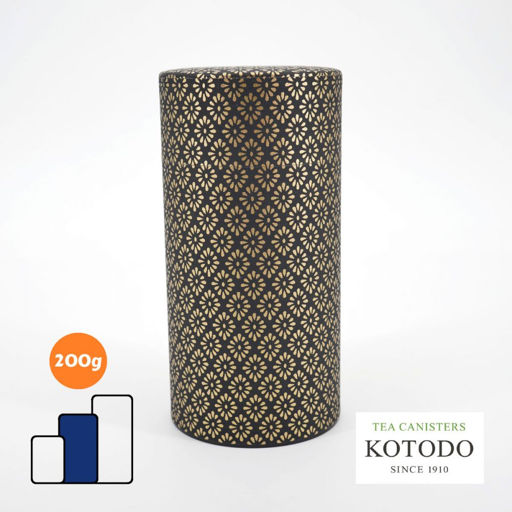 Japanese tea canister Washi design Collection black paper golden diamonds