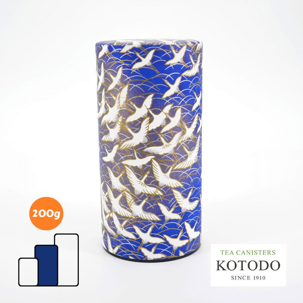Japanese tea canister Washi design Collection blue paper white cranes