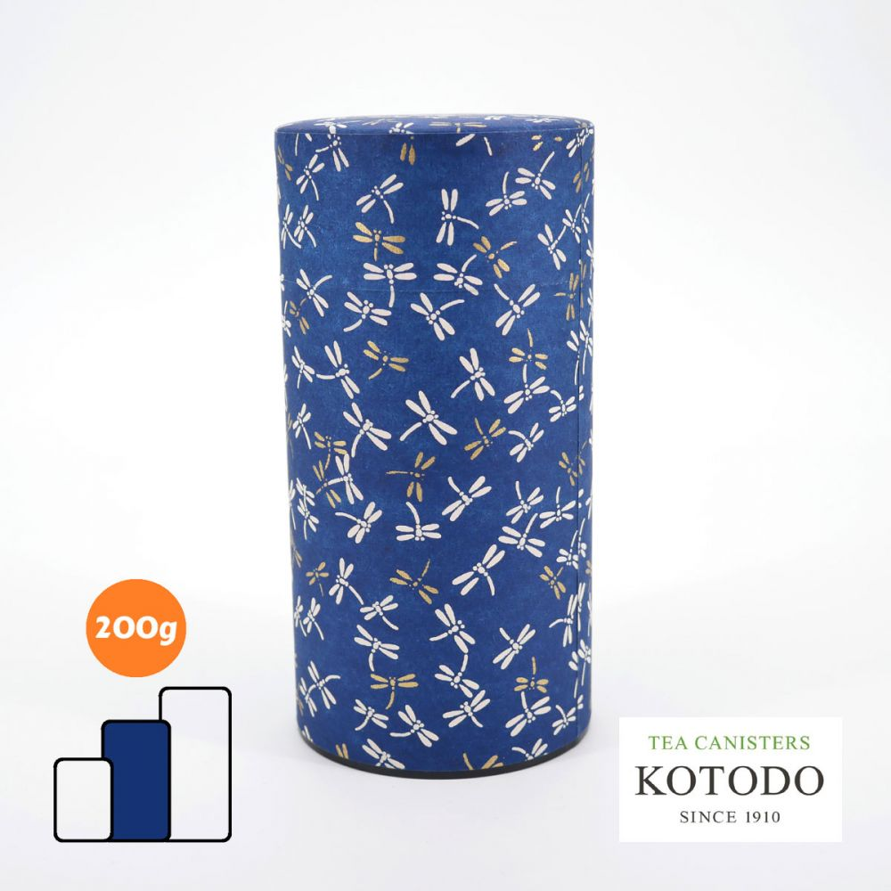Japanese tea canisters Washi design Collection blue paper dragonflies
