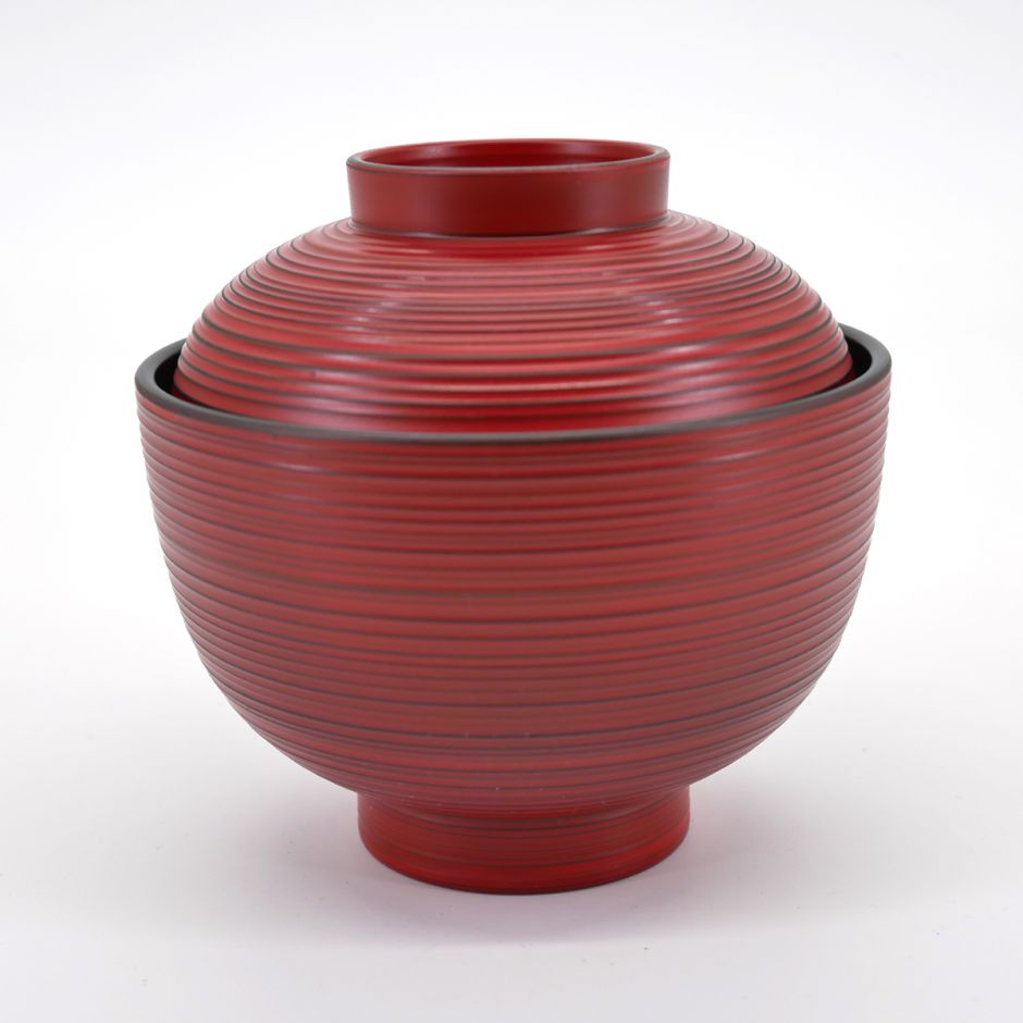 japanese red bowl with lid KOMARU NEGORO