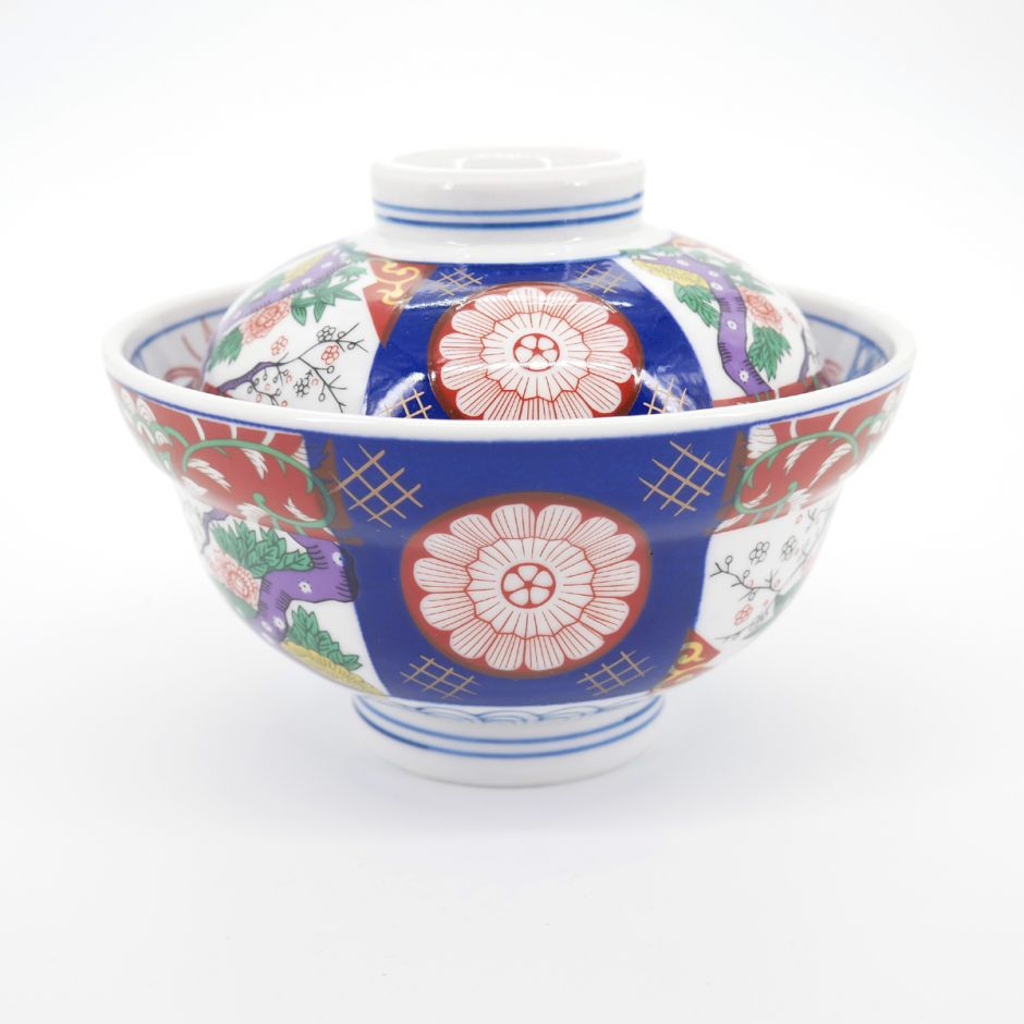 japanese traditional bowl with lid color patterns SOME NISHIKI MADORI