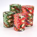 Japanese tea box washi paper 40g 100g green orange choice TSURU