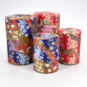 Japanese tea box washi paper 40g 100g red blue choice KAWA