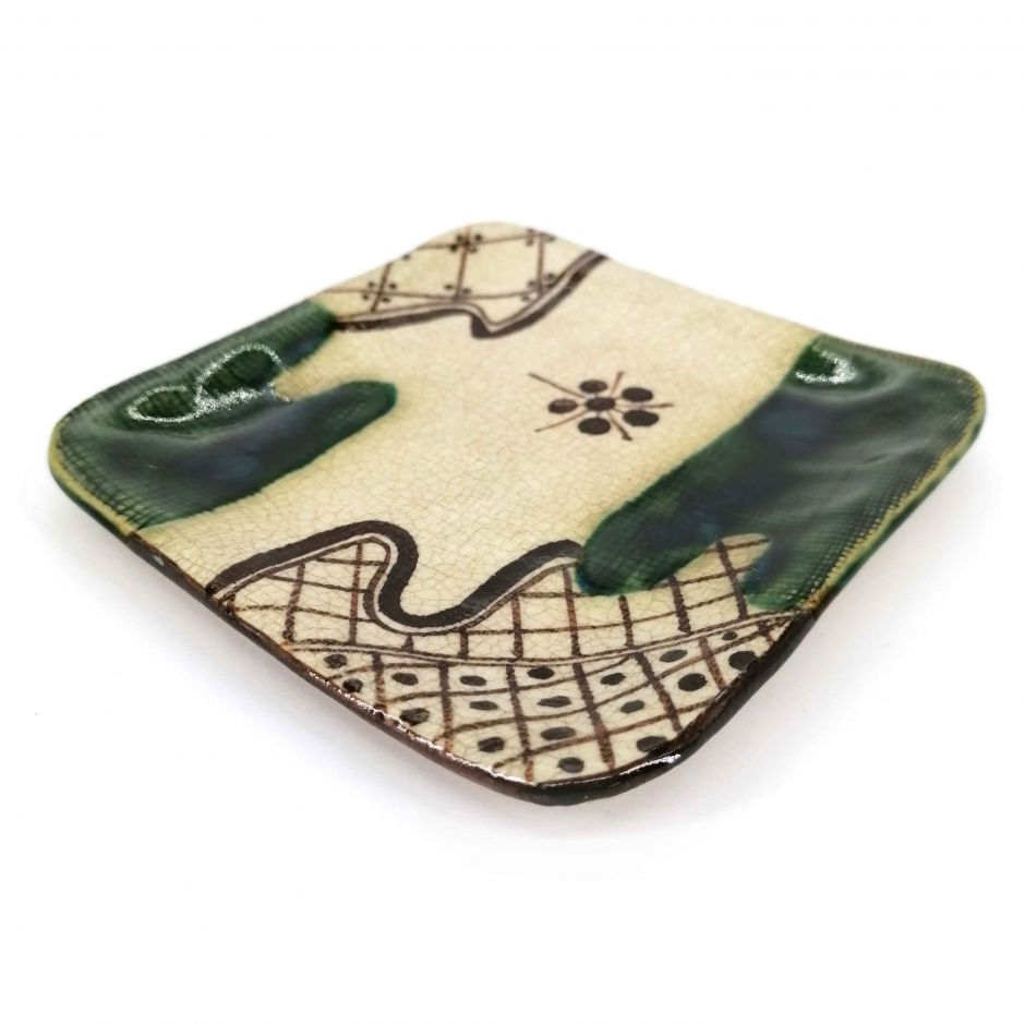 Small square Japanese plate in ceramic, beige and green - ORIBE