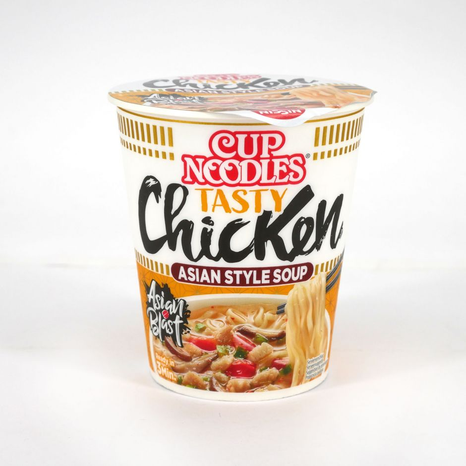 Instant Ramen Cup mit Hühnchen Ingwer, NISSIN CUP NOODLE TASTY CHICKEN
