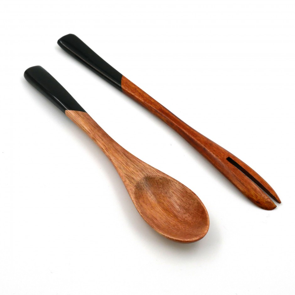 black wooden duo spoon - fork in Japanese for dessert