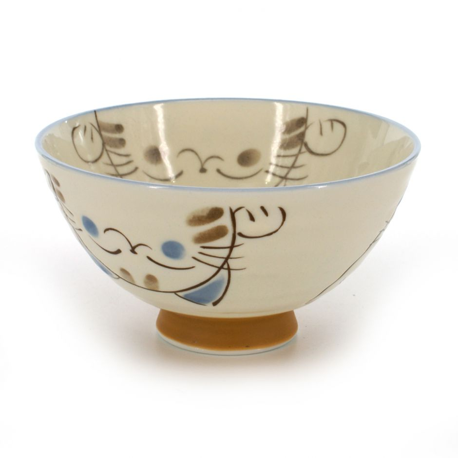 rice bowl with cat pictures white KOHIKI MIKE ÔHIRA
